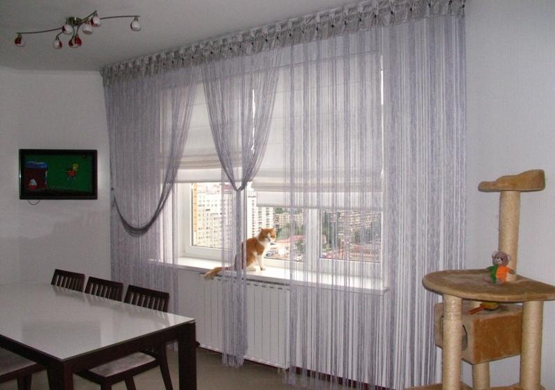 нитяные шторы для кухни с балконом фото